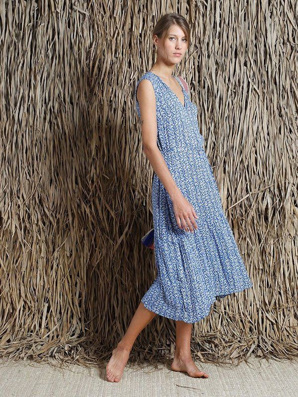 Indi & Cold Dash Print Dress - Cobalt