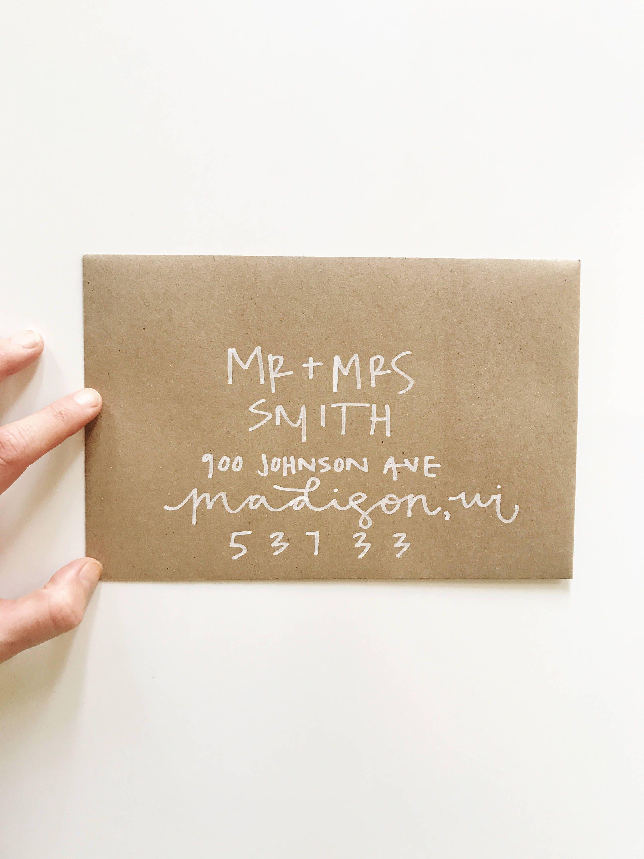 Hand Lettered Wedding Invitation Kraft Paper Envelopes Calligraphy Kraftpaper W Hand Lettered Wedding Invitations Wedding Invitations Hand Lettered Wedding