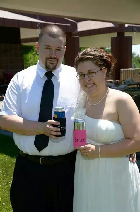 Bride and groom drink holders