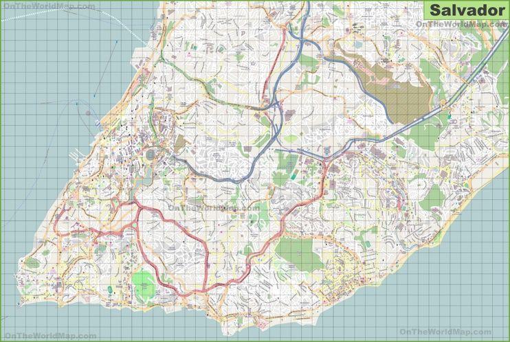 Large detailed map of Salvador Maps Pinterest Salvador Brazil