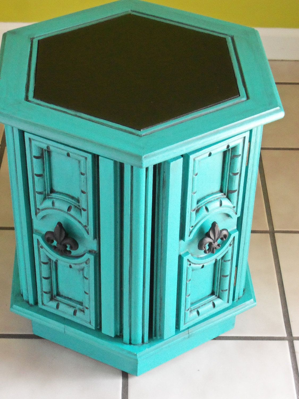 PaintedGlazed Hexagonal SideEnd Table w Storage Aardvark