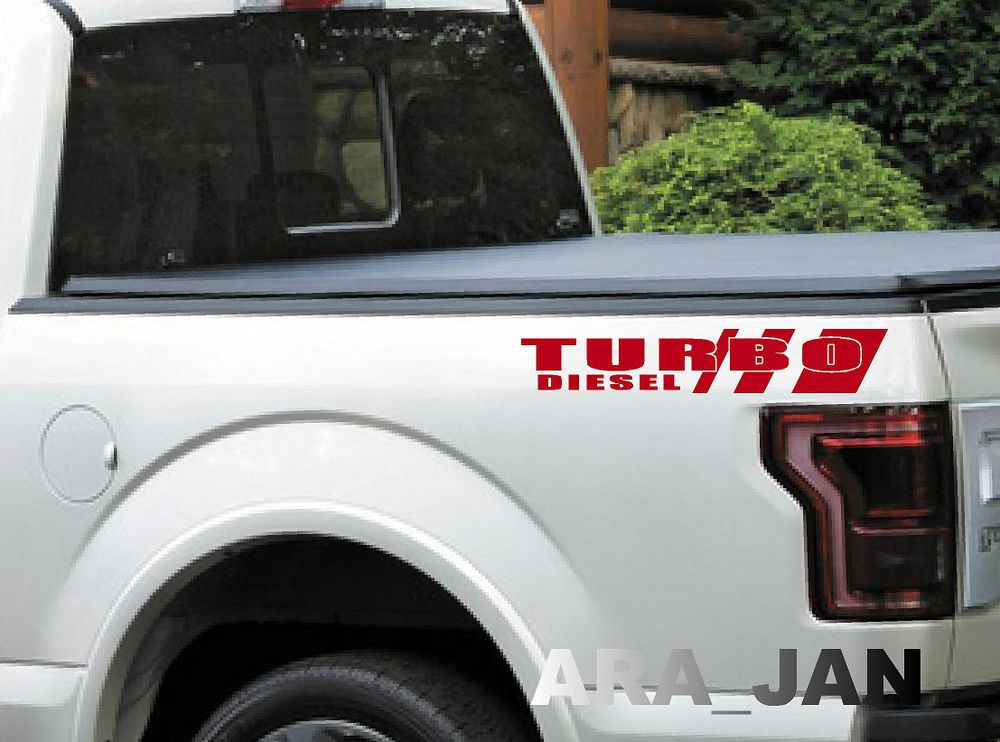 Powered by TURBO Truck Vinyl Decal sticker sport logo Pickup bed emblem BLACK