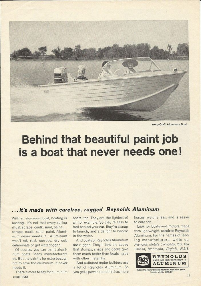 efbca6eb57d0ada2f39272010597a53c 1964 aero craft aluminum boat featured in reynolds aluminum ad  at readyjetset.co