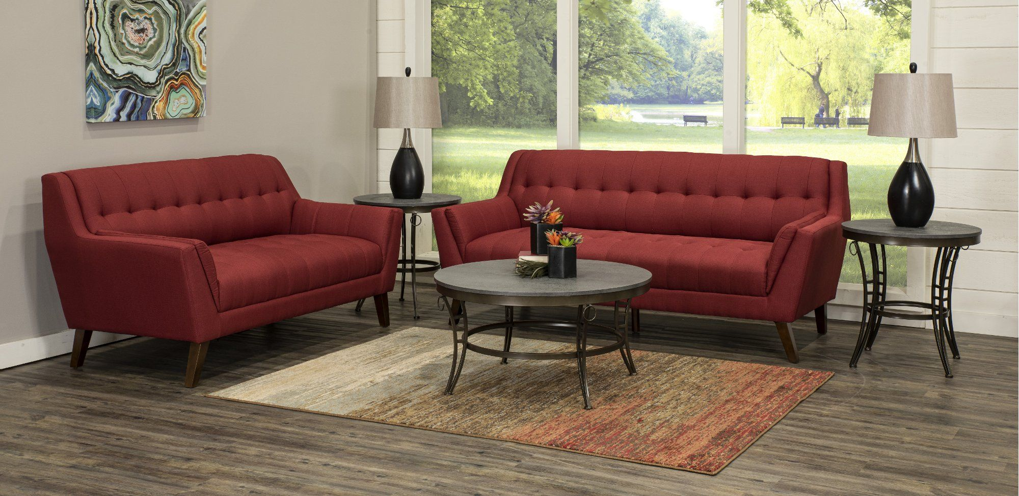 Mid Century Modern Red 5 Piece Living Room Set Celeste 5 Piece