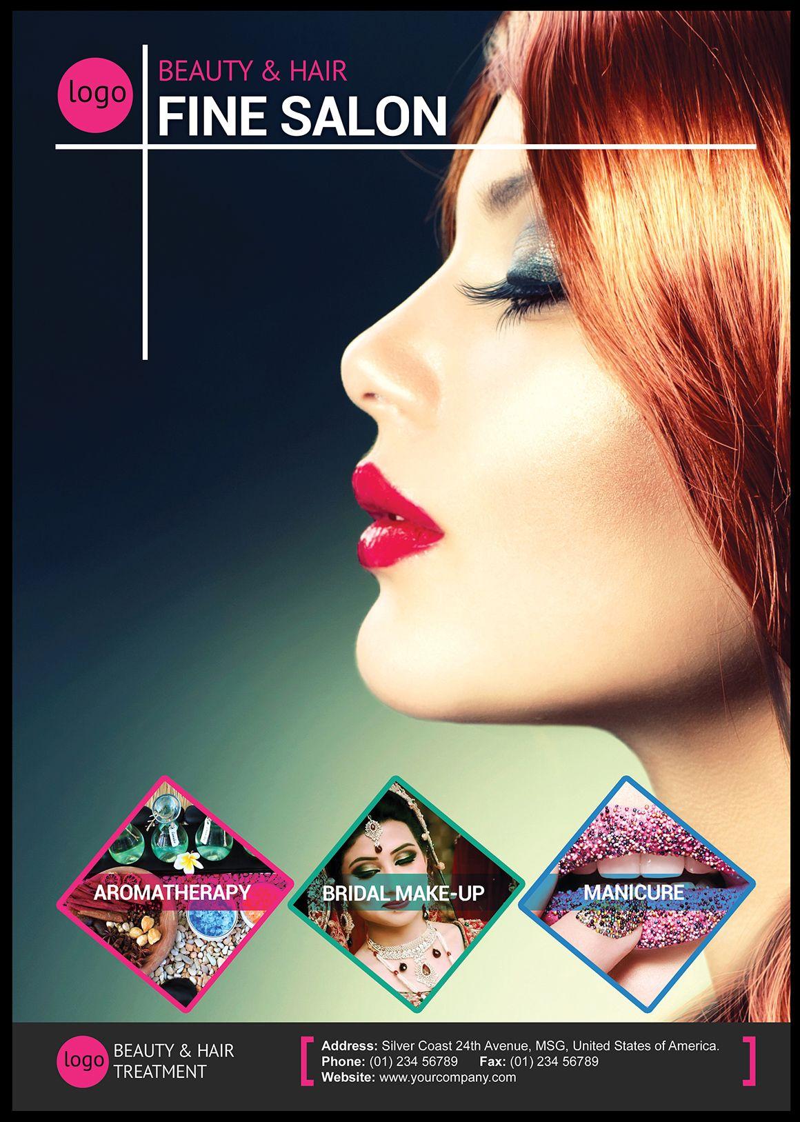 Beauty And Hair Salon Flyer Beauty Salon Posters Hair Salon Design Hair Salon