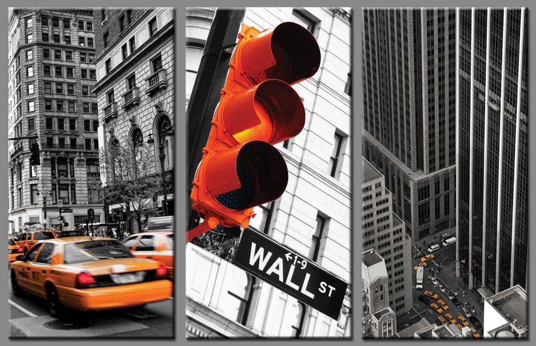 lot de 3 tableaux - new york en noir et blanc avec colorisation