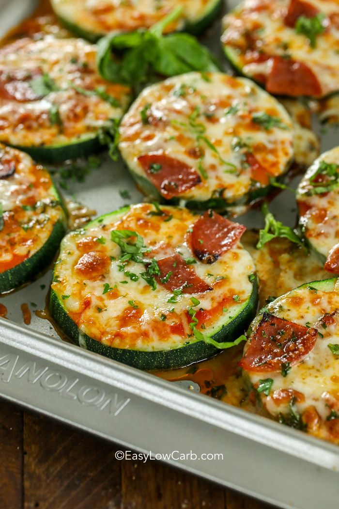 Zucchini Pizza Bites are one of our favorite snacks! These delicious pizza bites are topped with our favorite toppings and plenty of cheese for the perfect low carb pizza fix! #easylowcarb #keto #zucchini #zucchinipizzabites #zucchinipizza #pizzabites #zucchinirecipes