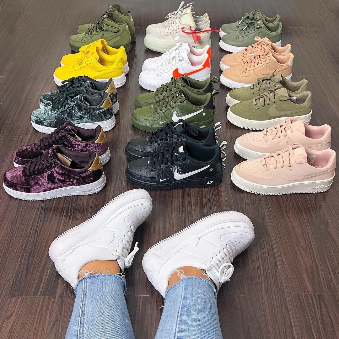Lots of Nike Air Force 1's. Girl with white Nike Air Force 1
