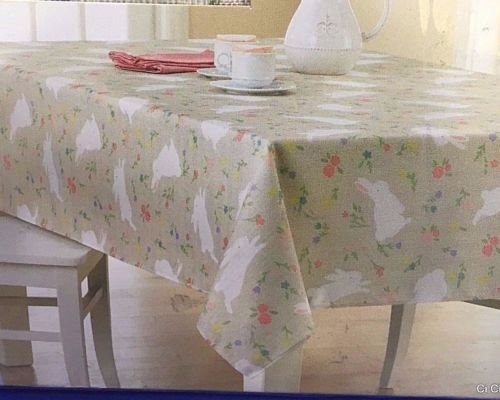 High Quality Celebrate Easter Tablecloth Oblong 60 X 120 Bunny Rabbits Flowers Beige  Spring