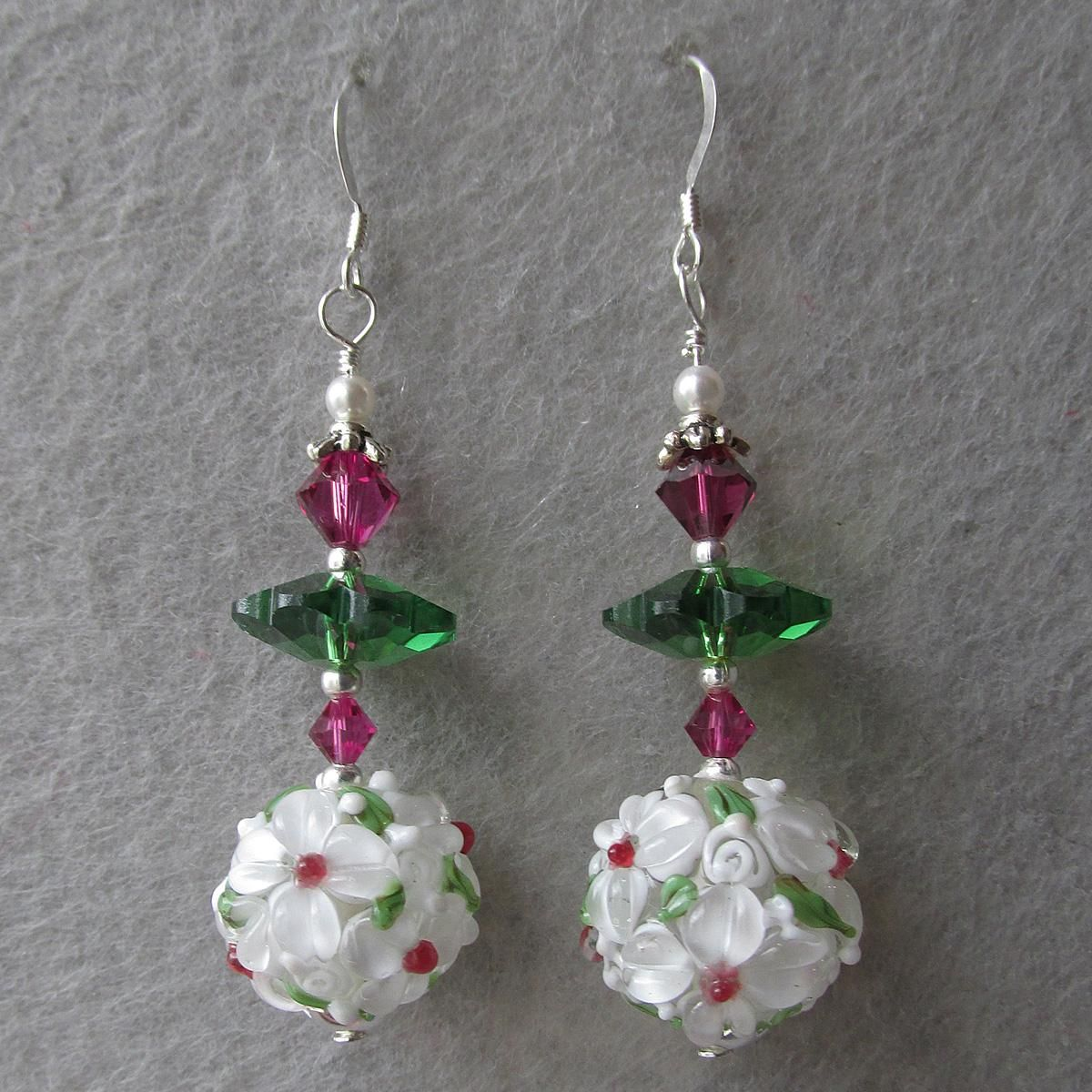 """My Secret Garden"" Lampwork Art Glass Artisan Earrings, ""White Dogwood Margarita"" #67"