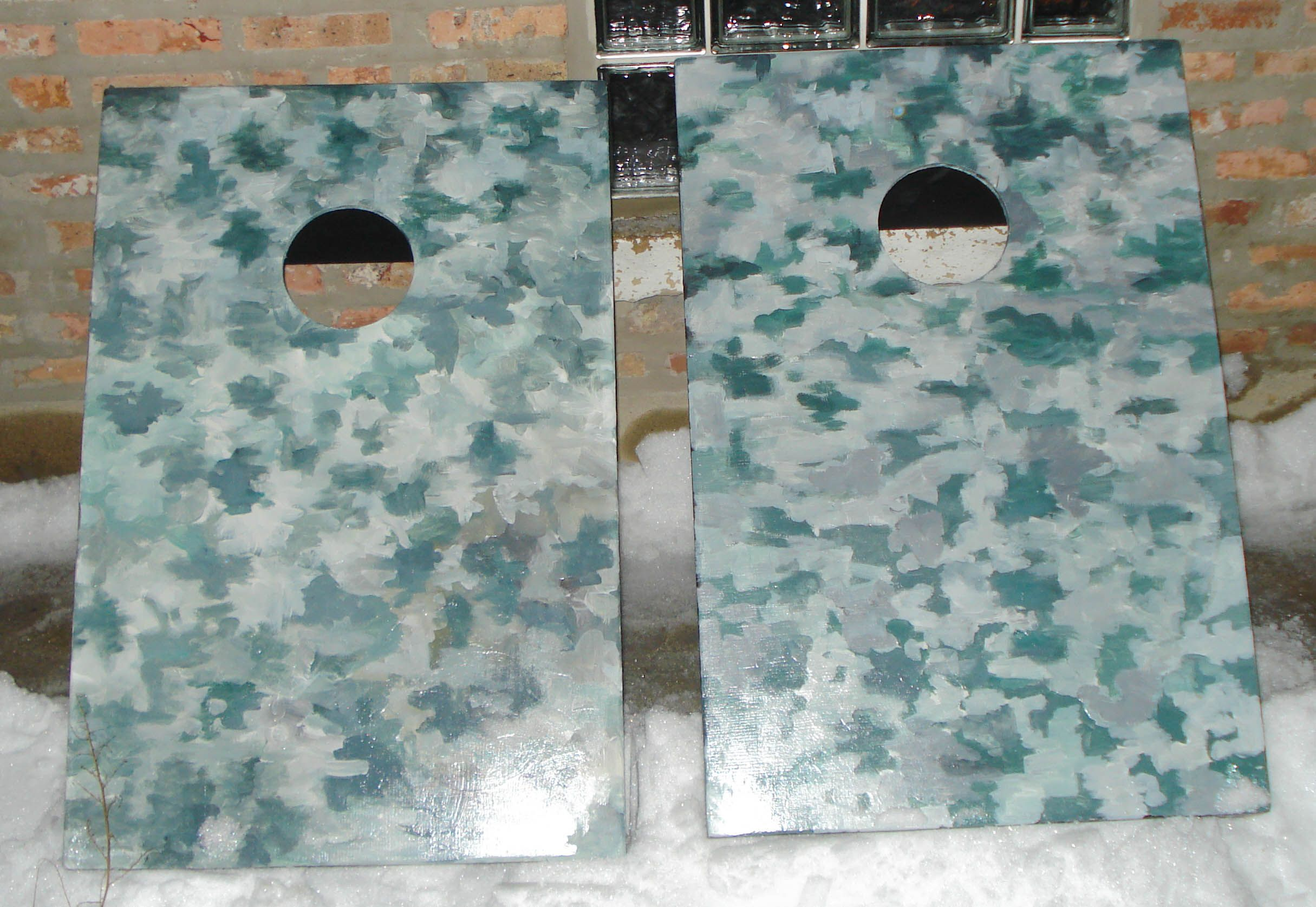 This custom hand painted 2 x 3 tailgate sized cornhole set was sent to Afghanistan during the Christmas of 2009.
