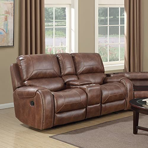 New Roundhill Furniture Achern Brown Leather Air Nailhead Manual Reclining Loveseat With Storage Console Top Rated Fur In 2020 Love Seat Recliner Sofa And Loveseat Set