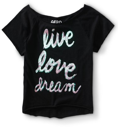 #Aeropostale              #love                     #Cropped #Sequined #Live #Love #Dream #Dorm         Cropped Sequined Live Love Dream Dorm Tee                                     http://www.seapai.com/product.aspx?PID=339366