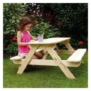 U0027PANDAu0027 Wooden Picnic Table U0026 Bench Set For Children: Amazon.co.