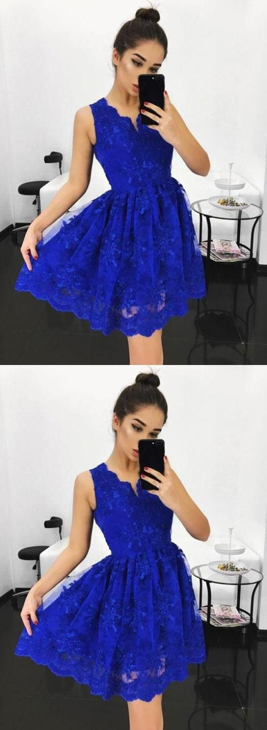 Blue v neck lace short prom dress homecoming dress in dressy