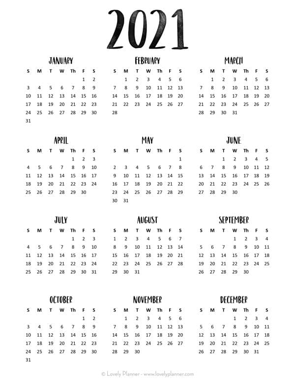 Calendar 2021. 24 Pretty (& Free) Printable One Page Calendars for 2021   Lovely