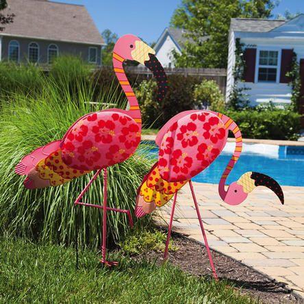 Evergreen Set Of 2 Tropical Printed Pink Flamingo Yard Art Decoration 41