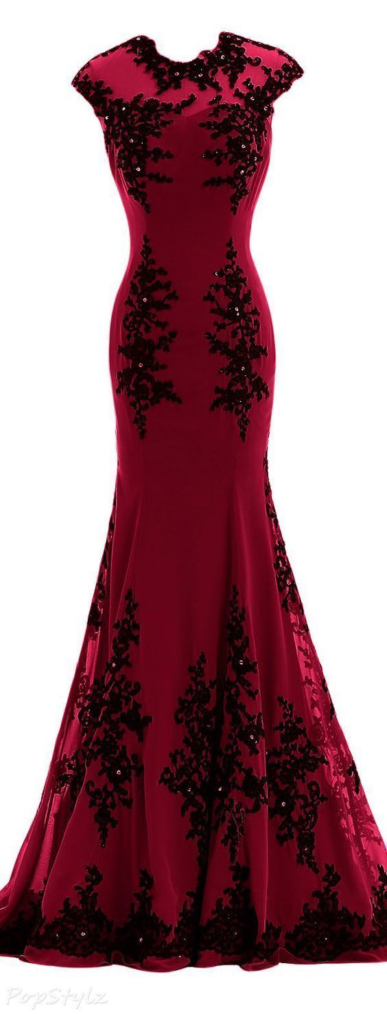Mermaid red prom dresses lace bodice modest evening dress with