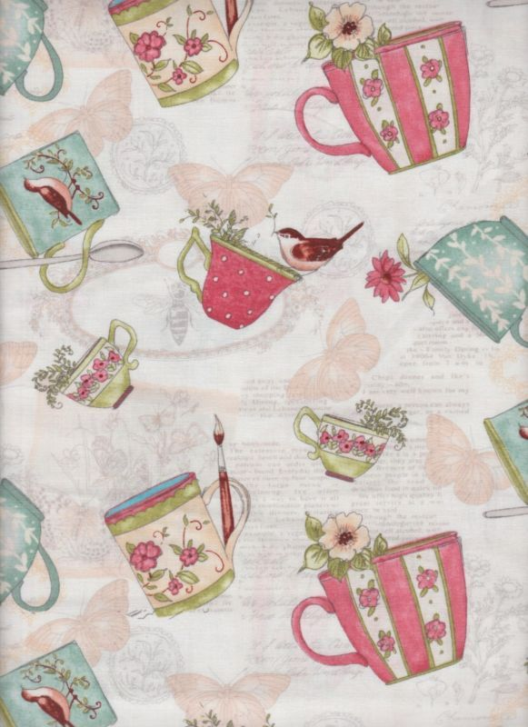 Coffee Tea Cup Butterfly Birds Paint Brush Fabric Kitchen Curtain