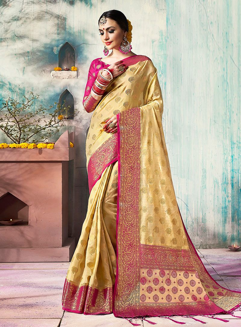 db4010954f Buy Beige Silk Saree With Blouse 139716 with blouse online at lowest price  from vast collection of sarees at Indianclothstore.com.