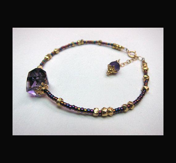 Amethyst  Vermeil and Seed Bead Bracelet by BossStudiosJewelry, $28.00