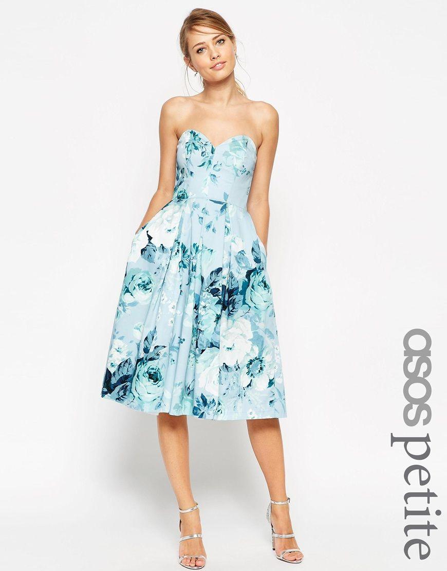 ASOS PETITE SALON Rose Bandeau Midi Prom Dress | Clutches ...