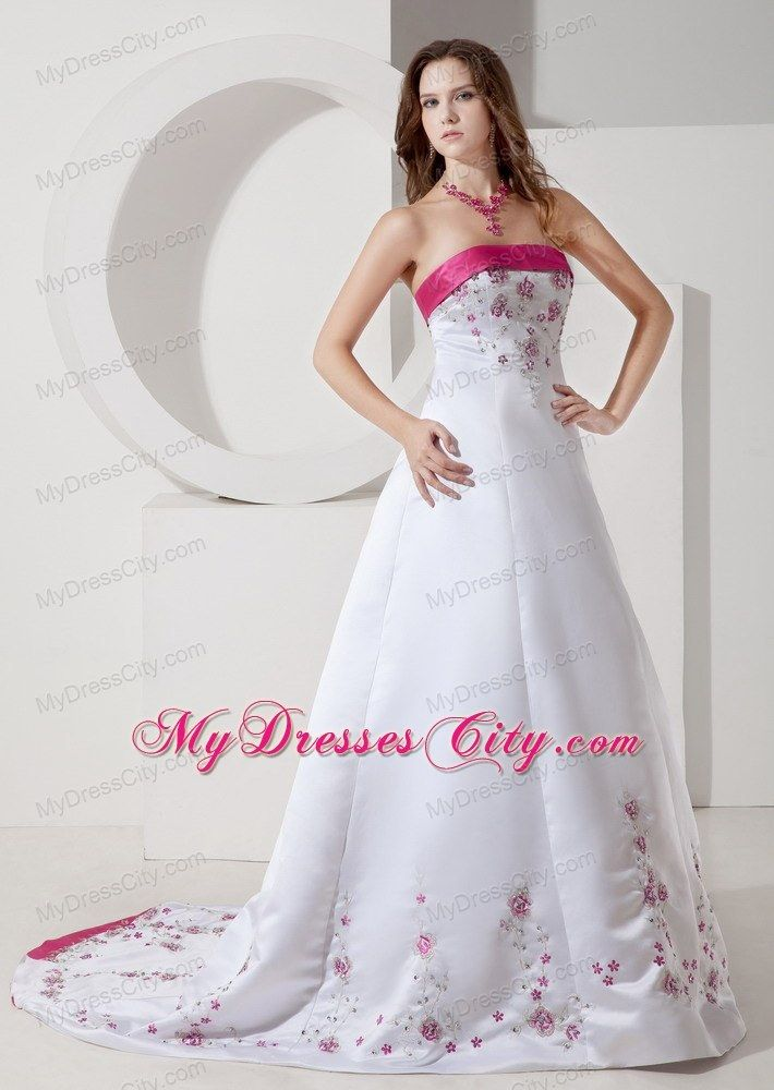 Elegant Hot Pink Hem Brush Train Satin Wedding Dress With Embroidery