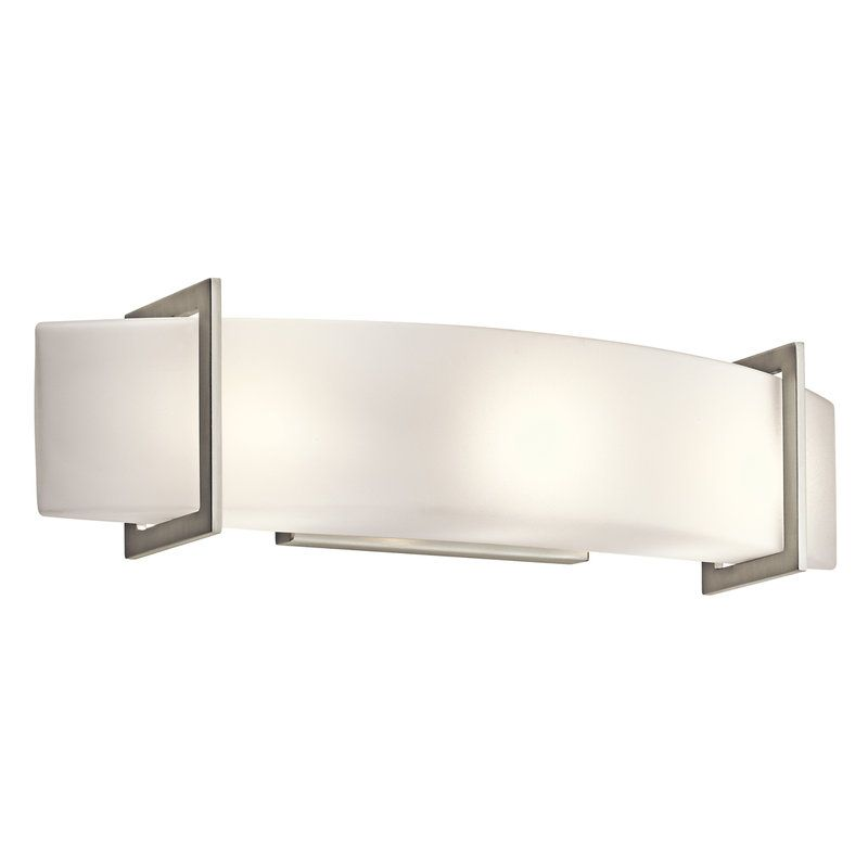 Bathroom Light Fixtures In Brushed Nickel kichler 45220ni | bathroom lighting, etched glass and bathroom