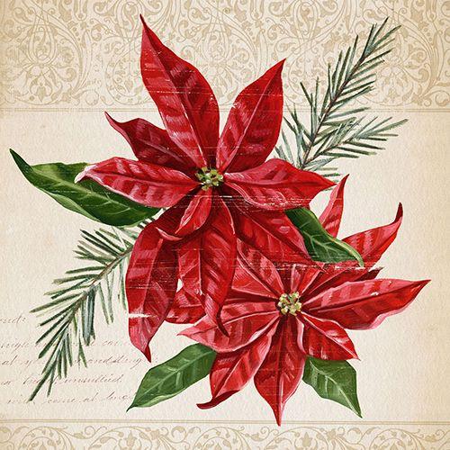 1X Paper Design Napkins Decoupage Craft Tissue Poinsettia Christmas Xmas Gift