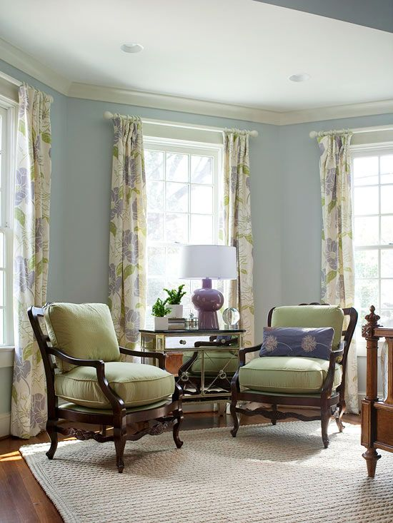 House Tour Tudor-Style Home Renovation Floral curtains, Natural