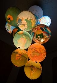 Globe Chandelier. Make of places you've traveled.
