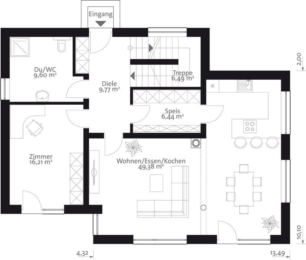Flach 164 das 164 m2 malli haus mit flachdach haus for Haus flachdach