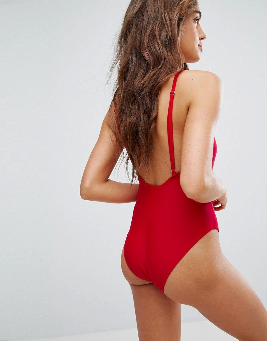 86a4b311c6f0 Boohoo High Leg Swimsuit | Products | Swimsuits, Red swimsuit, Boohoo