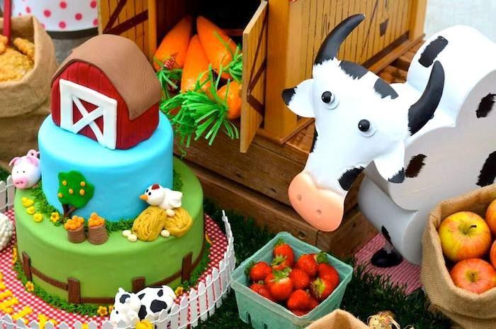 Farm Barnyard themed birthday party via Kara s Party Ideas