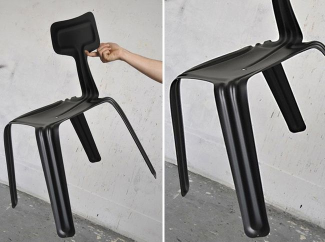 Pressed chair is a light, stackable metal chair stamped out of a 2.5 mm aluminium sheet. The value of the design excels in the intent of creating a piece out of one single material without any joints or connectors. Furthermore the manufacturing produces no waste material and is 100% recyclable.