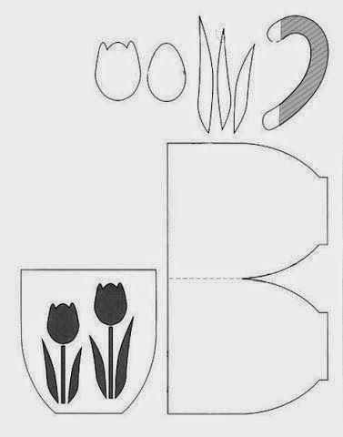 Molde para hacer tarjetas en forma de taza con tulipanes mariquita