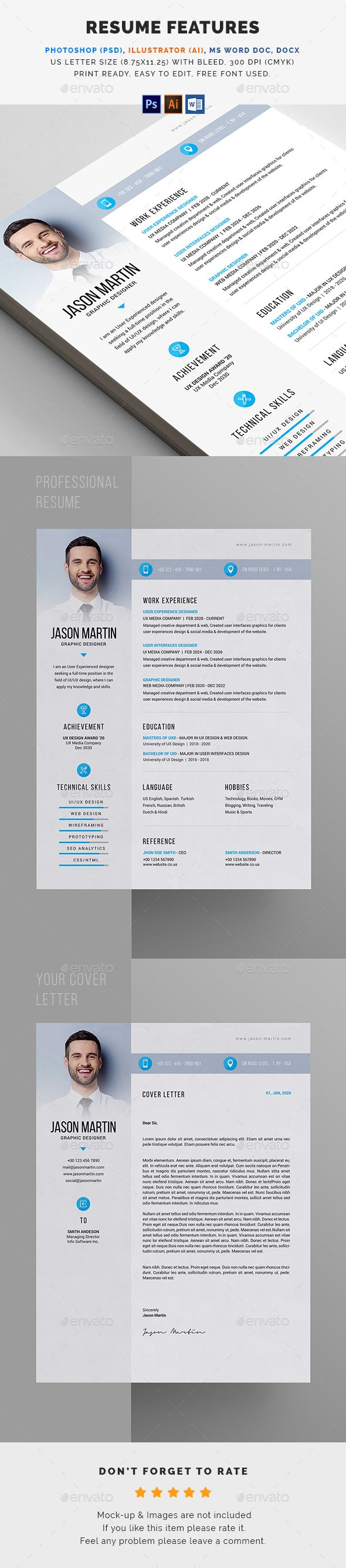 simple #clean #minimal #modern #professional #Resume #template ...