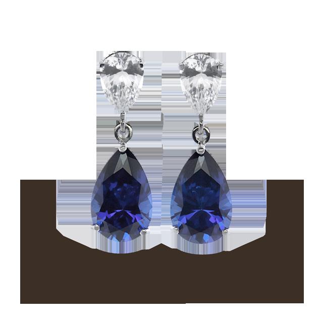 9ct Gold Sapphire Teardrop long Drop earrings fTxtndmO4