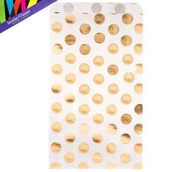 Polka Dot Treat Sacks Dots Gold Foil