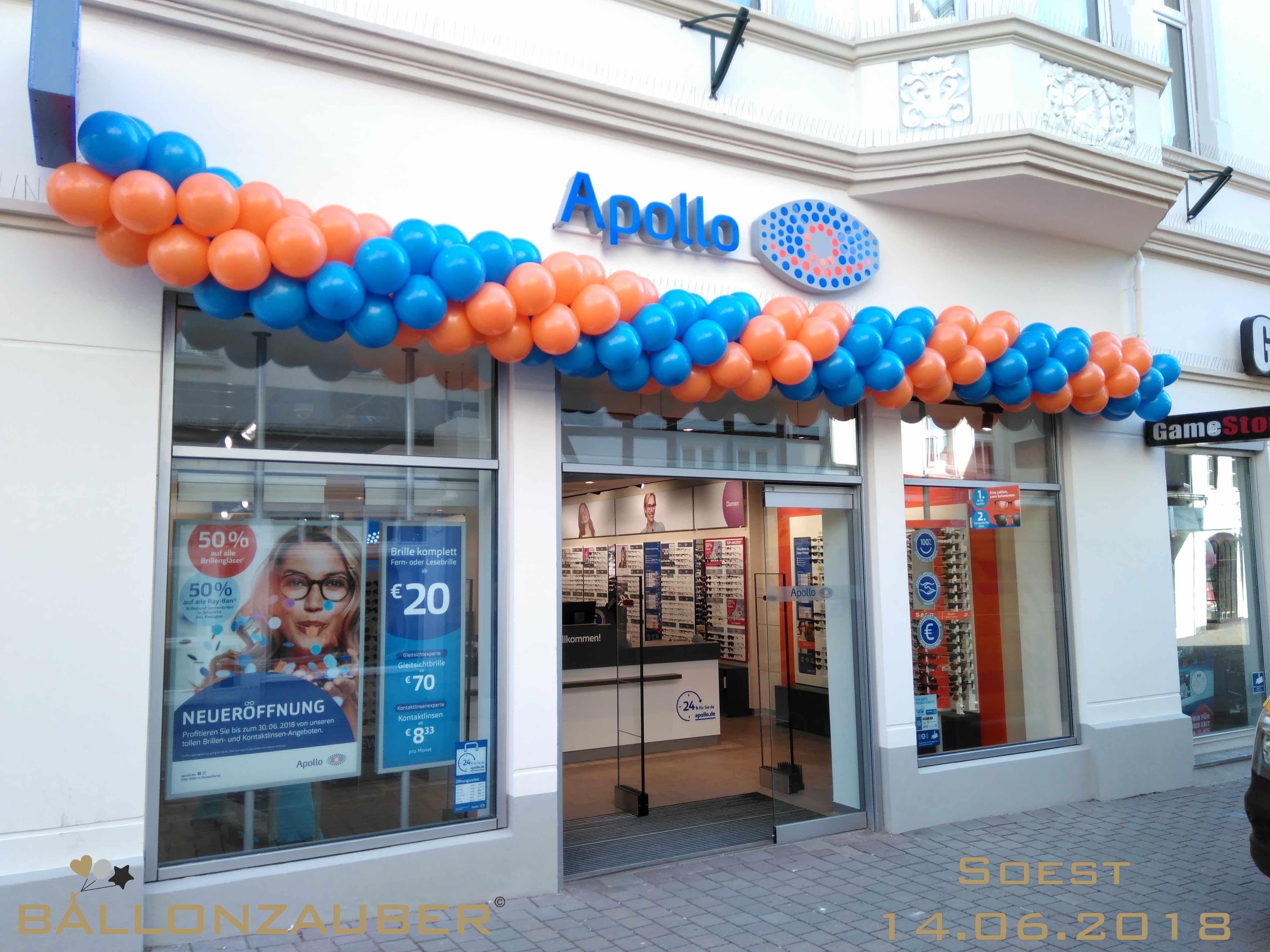 Ballongirlande In Orange Und Blau Fur Eine Apollo Filliale In Soest Ballonzauber Dortmund Ihr Partner Fur Ba Ballondekorationen Luftballons Ballongirlande