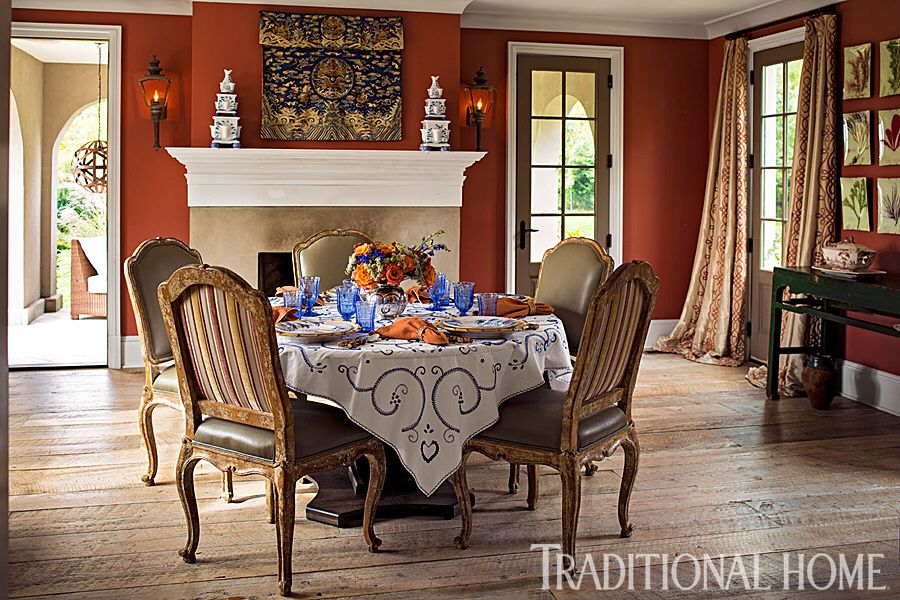 Earthy Tones Traditional Home Magazine French Style Decor Dining Room Feature Wall