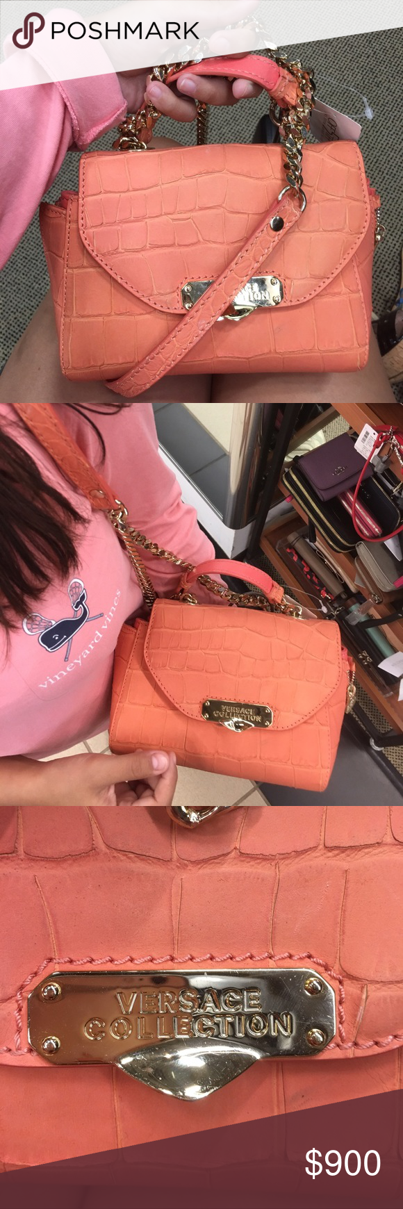 Pink leather Versace cross body bag Brand new Versace Bags Crossbody Bags