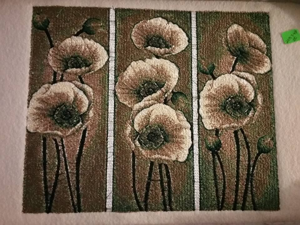 Anemones Embroidered With Free Design Flowers Photo Stitch Free