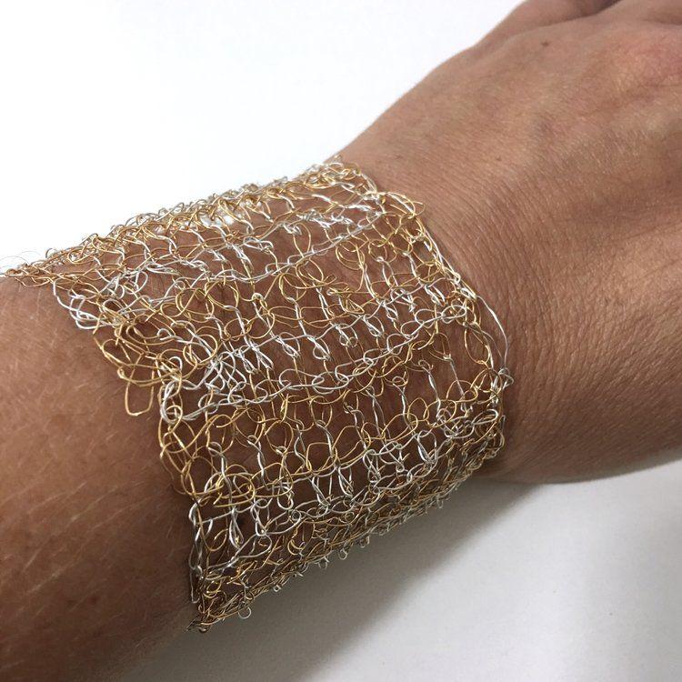 Dec 22 2 Color Tunisian Double Crochet Wire Cuff Bracelet Free Pattern