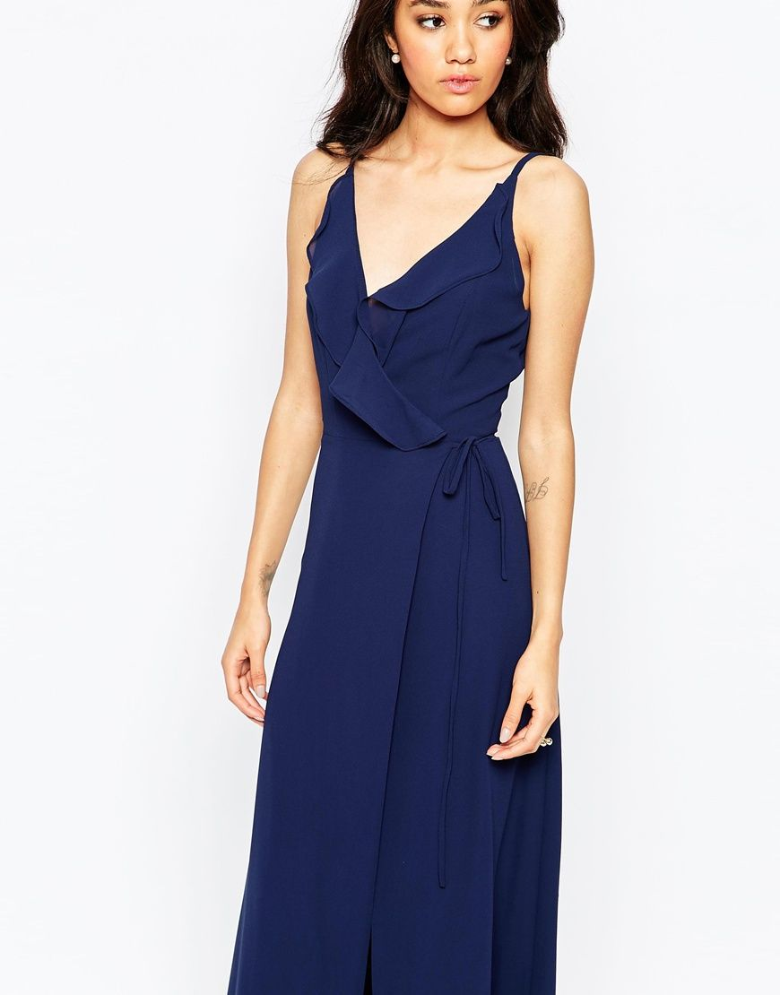 Image 3 ofJarlo Tall Soft Plunge Neck Strappy Maxi Dress
