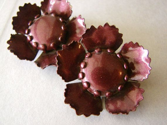 Vintage purple jewel tone metal flower earrings by fayebella, $10.00