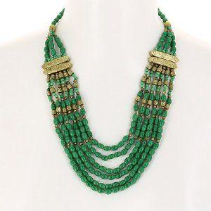 prix raisonnable la qualité d'abord site réputé Bijou ethnique - Collier fantaisie doré et perles - Vert ...