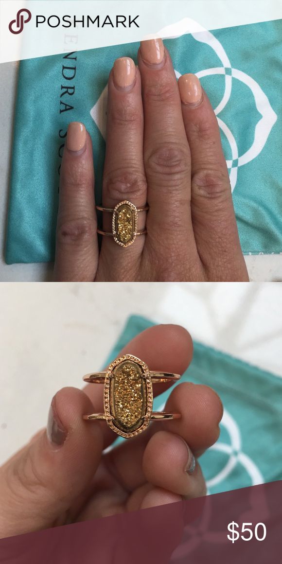 Rose Gold Elyse Ring with Platinum Gold Druzy Kendra scott jewelry
