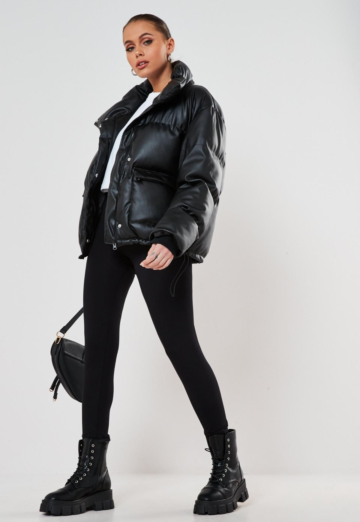 Missguided Black Faux Leather Puffer Jacket Puffer Jacket Outfit Leather Puffer Jacket Winter Jacket Outfits [ 1739 x 1200 Pixel ]