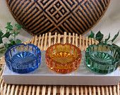 3 Colored Glass Ashtrays Vintage Gift Boxed Set, @Successionary etsy shop